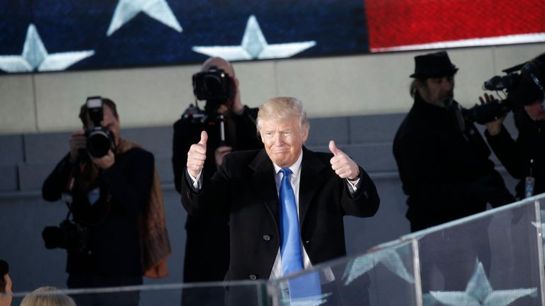 US President-elect Donald Trump and his family take part in a Make  America Great Again welcome concert in Washington