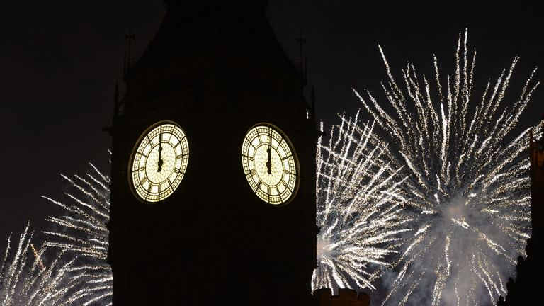 New Year's fireworks in London