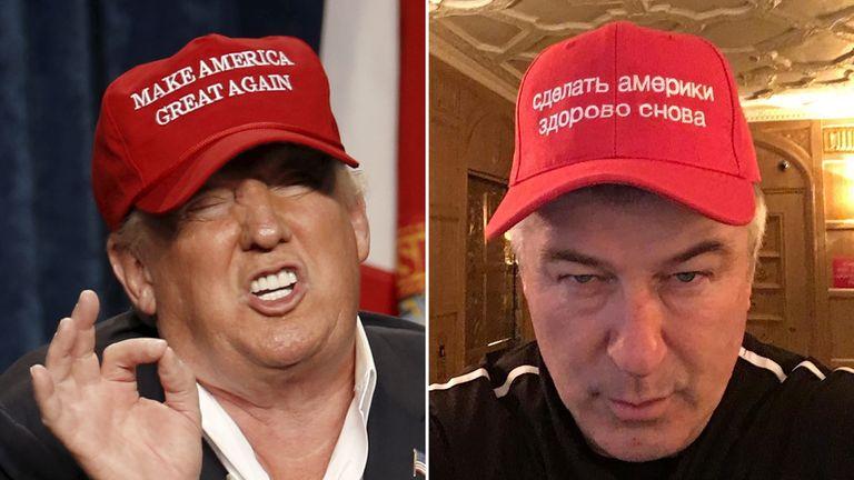 99a0a04c Alec Baldwin mocks Donald Trump in Russian 'Make America Great Again' cap