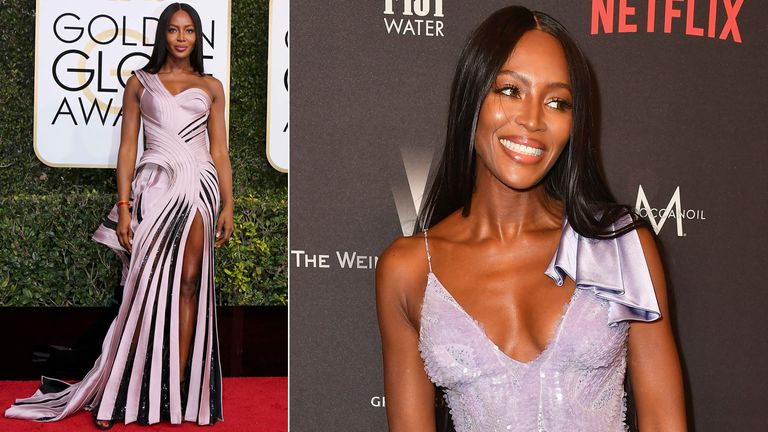 Naomi Campbell arriving and at the Weinstein Company And Netflix Golden Globes After Party