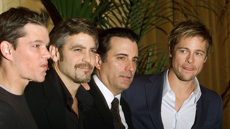 Stars Matt Damon, George Clooney, Andy Garcia and Brad Pitt at Ocean's Eleven premiere