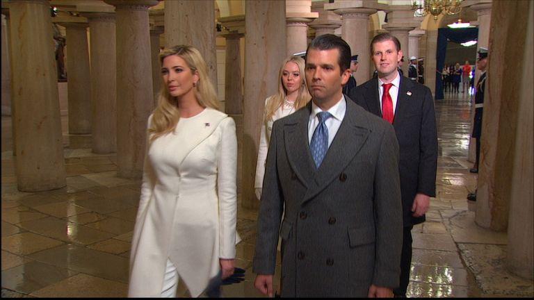 Trump's family arrive