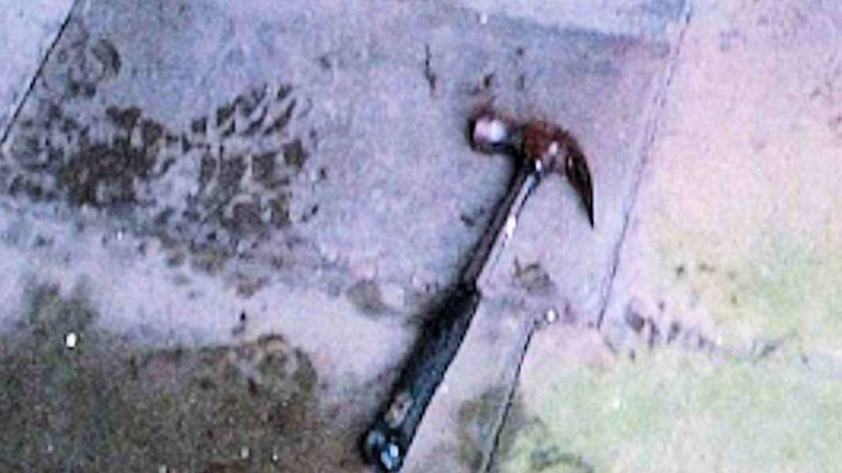 The claw hammer used by Piruz in the attack