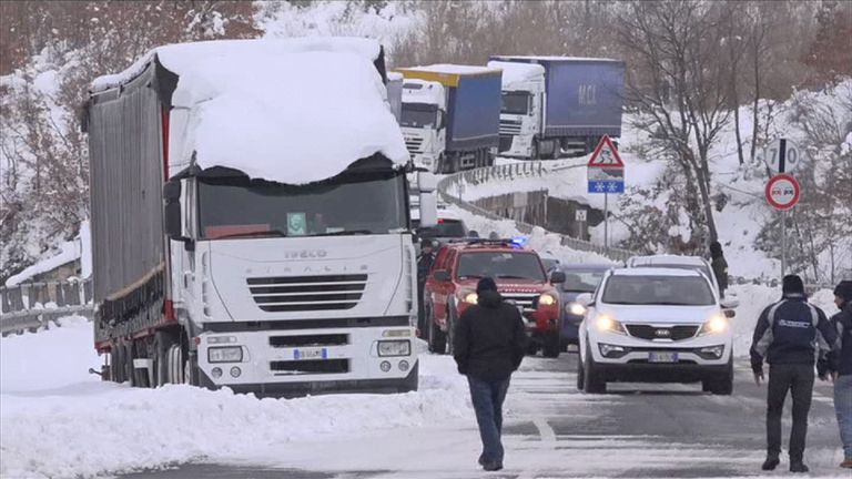 Traffic struggles through the snow in the Molise region of Italy