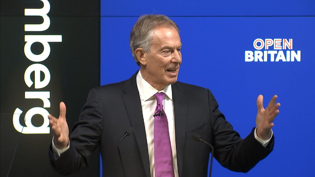 Tony Blair delivering a speech in the City