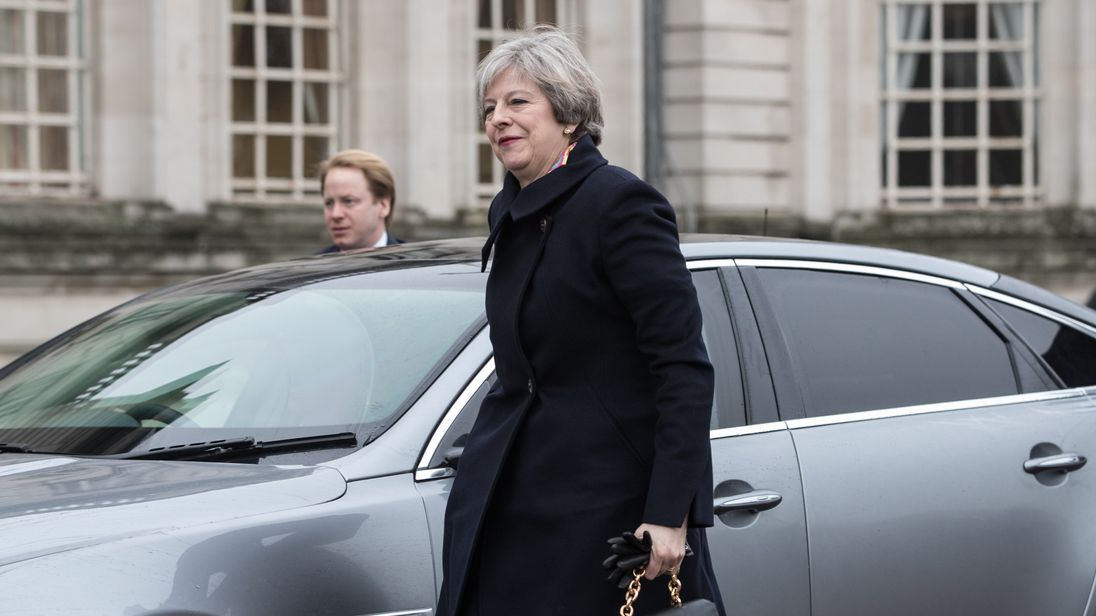 Prime Minister Theresa May arrives at Cardiff City Hall for a joint ministerial committee (JMC) which includes the leaders from Westminster, Cardiff, Edinburgh and Belfast on January 30, 2017