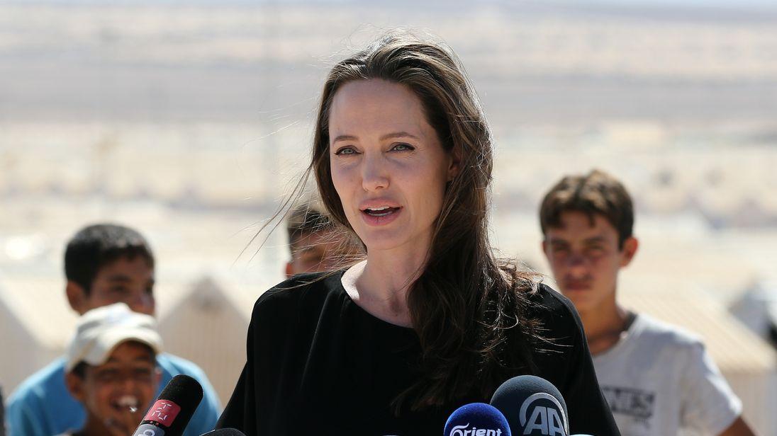 Angelina Jolie visits a Syrian refugee camp in Jordan in September 2016