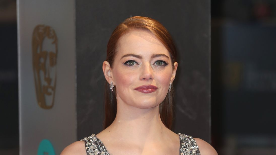 Emma Stone poses at the BAFTA British Academy Film Awards at the Royal Albert Hall in London on February 12, 2017