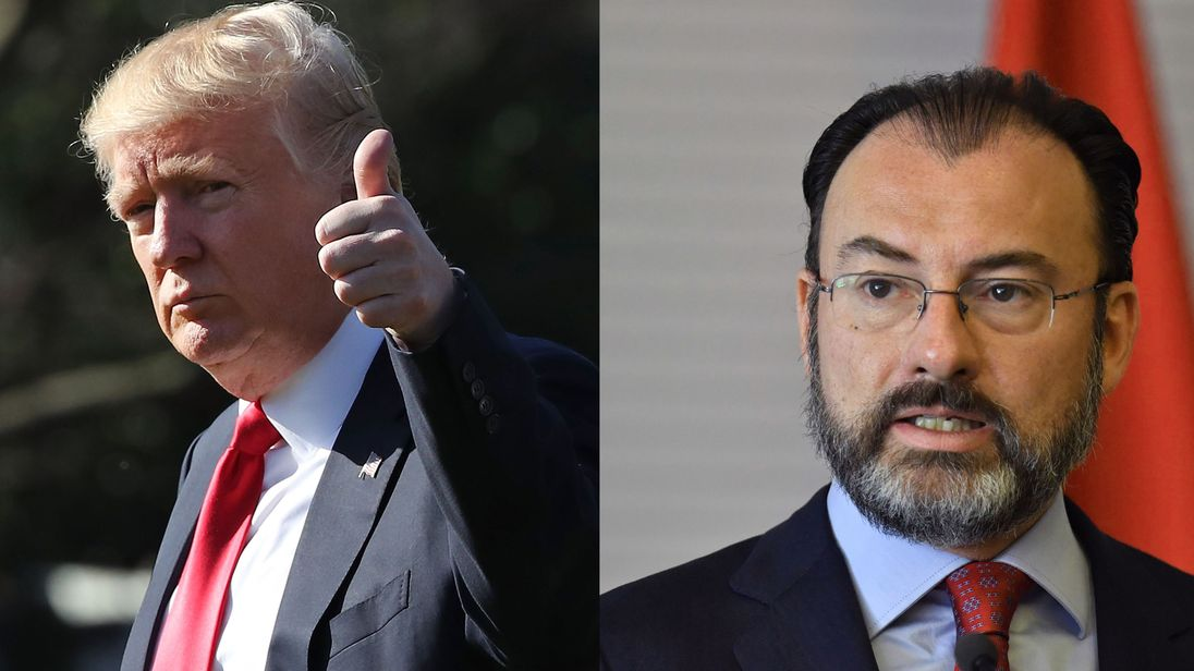US President Donald Trump and Mexican Foreign Minister Luis Videgaray