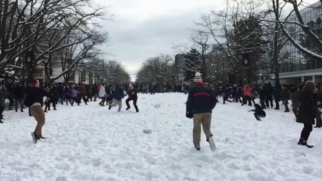 University of British Columbia students battle it out with snowballs