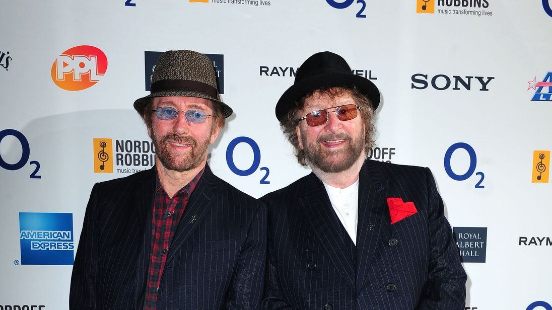 Chas and Dave arriving at the O2 Silver Clef awards Awards at the Hilton Hotel, London in 2014