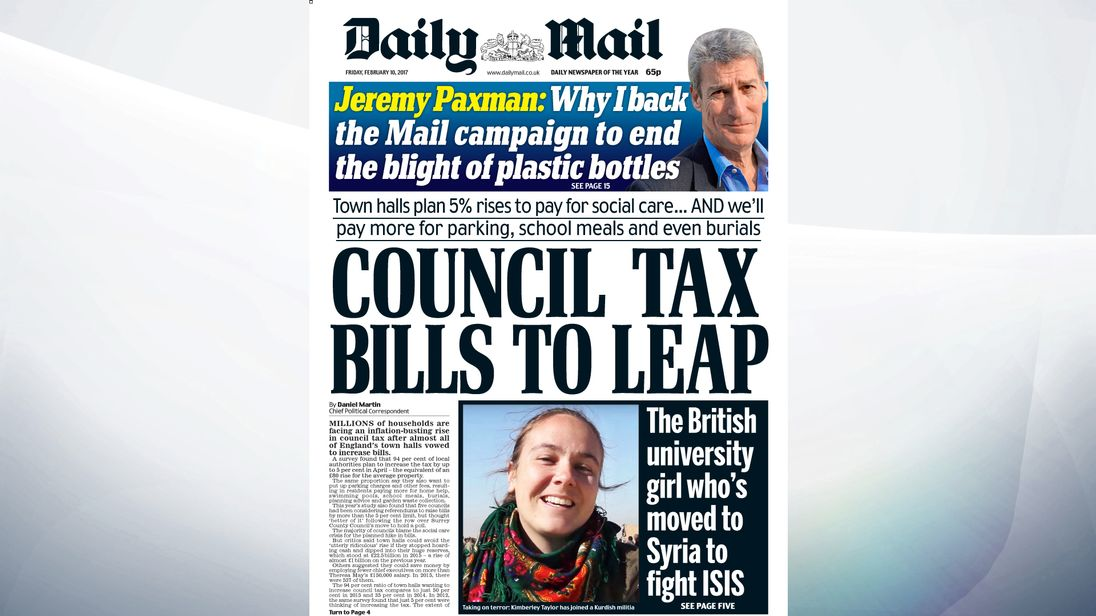 Bills are going to leap in millions of households, with up to 5% increase in council tax for many households, says the Daily Mail