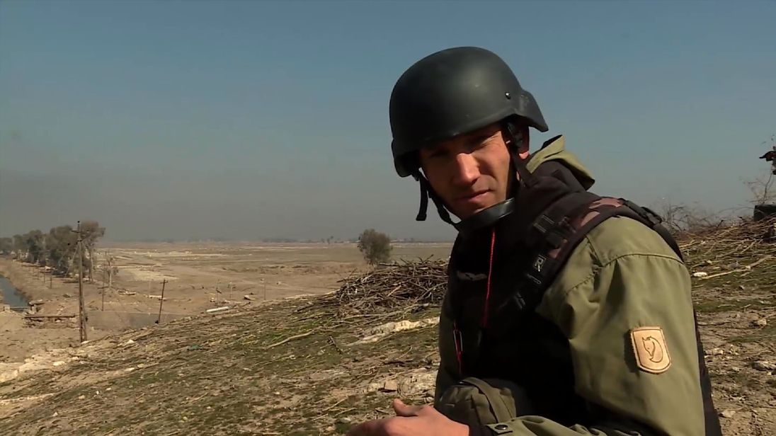 Sky's Alex Rossi with Iraqi troops on the outskirts of Mosul