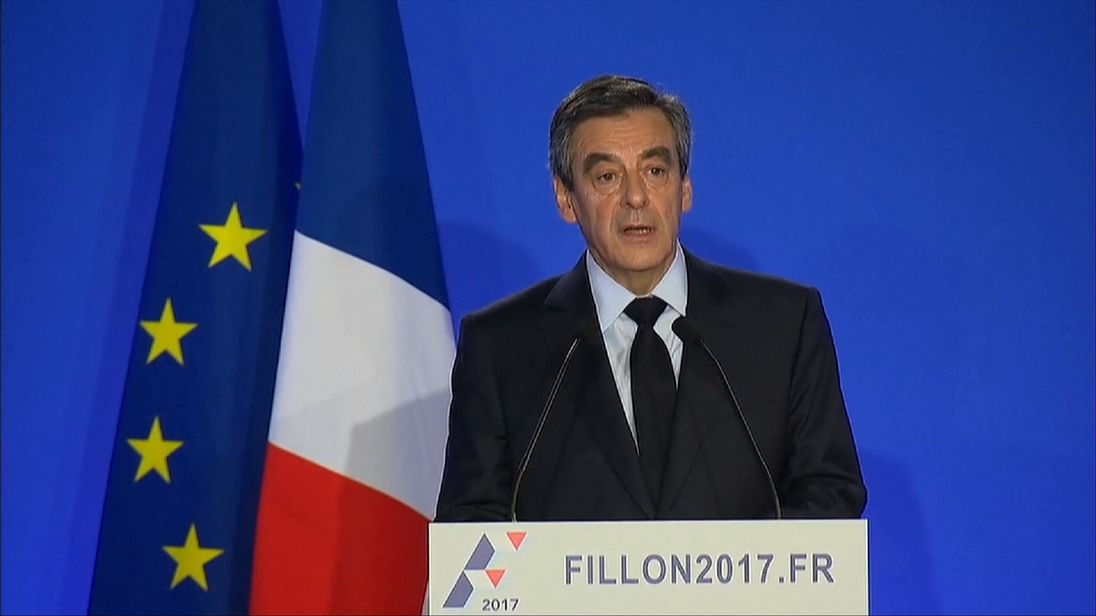 Francois Fillon gives a news conference and denies illegality