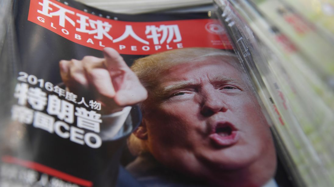 A Chinese magazine with a front page story naming Donald Trump as its Person of the Year, December 2016