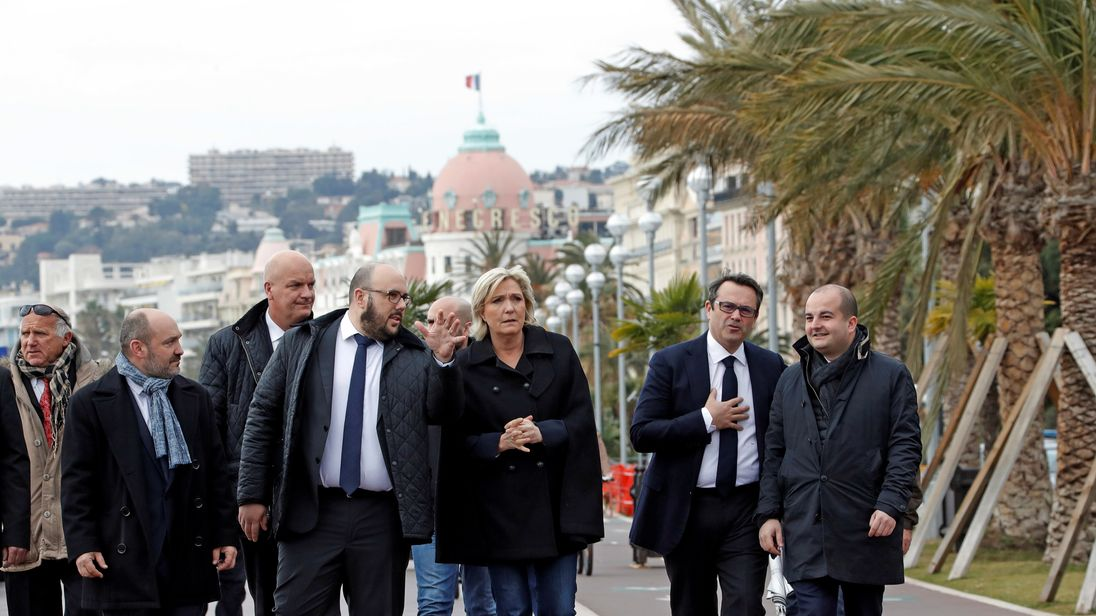 Ms Le Pen walked along the route taken by the truck which killed 86 people in Nice