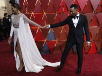 Model Chrissy Teigen arrives with husband, singer John Legend