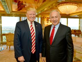 Mr Trump and Mr Netanyahu pictured in New York in 2016