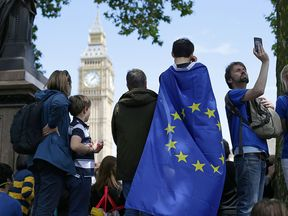 A march for Europe rally in London. The human rights of EU nationals resident in the UK must not be used as bargaining chips in Brexit negotiations, a parliamentary watchdog has warned