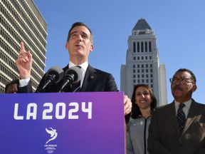 Los Angeles Mayor Eric Garcetti announces the Los Angeles City Councils 13-0 unanimous final approval vote to bid for the 2024 Summer Olympics in Los Angeles, California on January 25, 2017