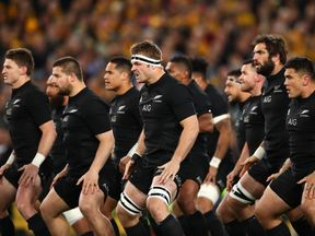 The All Blacks perform a Haka at the Bledisloe Cup match on August 20, 2016