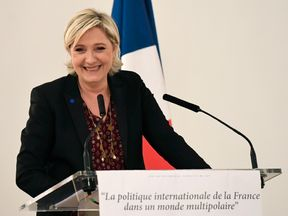 French presidential election candidate for the far-right Front National (FN) party Marine Le Pen delivers a speech focused on 'France's international politic in a multipolar world' in Paris, on February 23, 2017