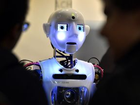 A British-engineered humanoid robot on show in Madrid