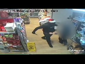 The robber stole more than £2,000 in the hold-up