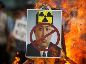 An anti-North Korea rally in central Seoul,