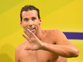 Grant Hackett of Australia waves to the crowd after racing in the Men's 200 Metre Freestyle during day two of the 2016 Australian Swimming Championships at the South Australia Aquatic Centre on April 8, 2016 in Adelaide, Australia.