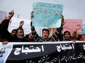 Protest against bomb blasts in Pakistan
