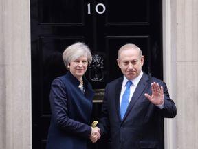 Prime Minister Theresa May greets Israeli Prime Minister Benjamin Netanyahu