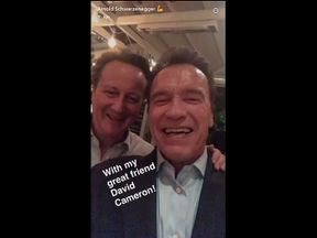 'I'll be back' Cameron says in Snapchat video with Schwarzenegger