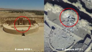 Russian drone pictures of Palmyra's ancient amphitheatre