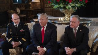 President Trump making the announcement with General McMaster (left) and Mr Kellogg (right)