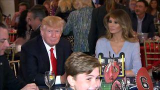 Donald Trump at a Super Bowl party