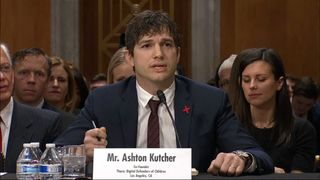 Ashton Kutcher gives an emotional speech to US senators calling for more action to tackle child sexual abuse