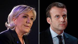 Marine Le Pen (L) and Emmanuel Macron (R) held rallies on Saturday