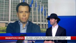 Maximo Park singer Paul Smith with Sky Correspondent Mark Stone from Brussels