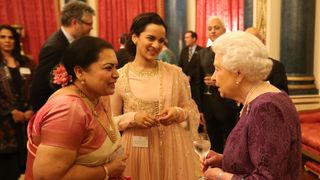 Queen Elizabeth II meets Sukanya Shankar (left) and Anoushka Shankar (centre), the the wife and daughter of Ravi Shankar at a reception to mark the launch of the UK-India Year of Culture 2017 at Buckingham Palace, London.
