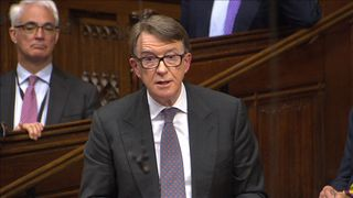 Lord Mandelson speaks during the House of Lords debate on Brexit