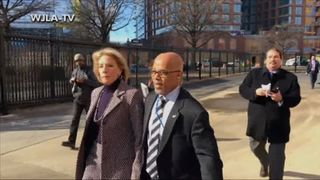 Betsy DeVos is forced to return to her car after protesters stop her from visiting Jefferson Middle School in Washington DC