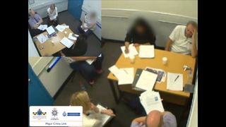 Ian stewart being questioned in an interview room by officers
