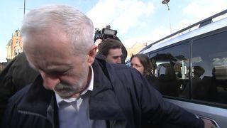 """Jeremy Corbyn says """"someone just tried to kick me""""."""