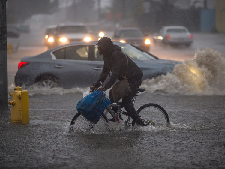 California hit by 'weather bomb'