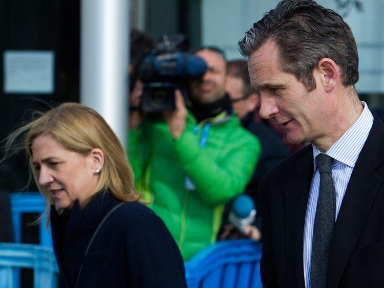 Princess Cristina and her husband, former Olympic handball player Inaki Urdangarin leave court in 2016