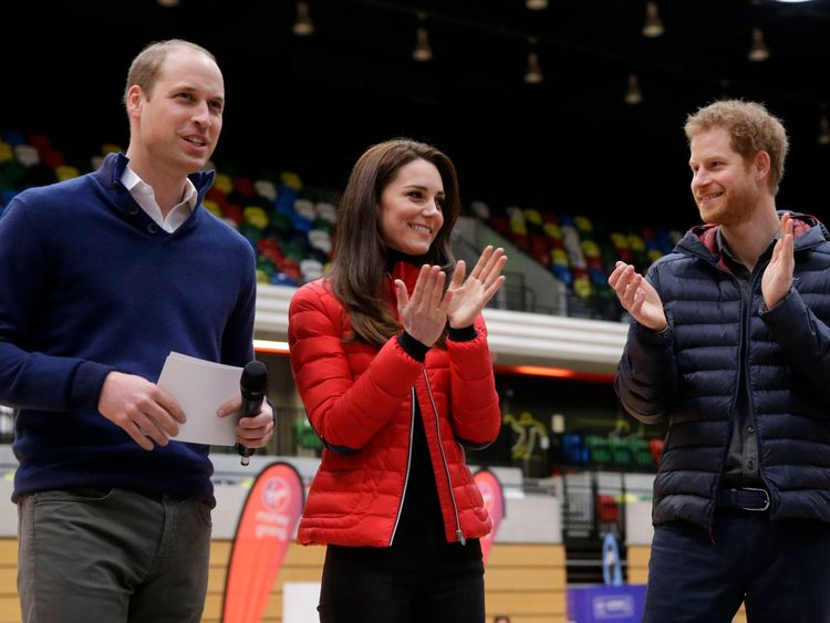 The Duke and Duchess of Cambridge and Prince Harry attend the London Marathon for the Heads Together campaign