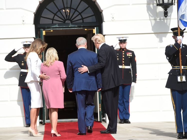 Sara and Benjamin Netanyahu are welcomed to the White House by the Trumps