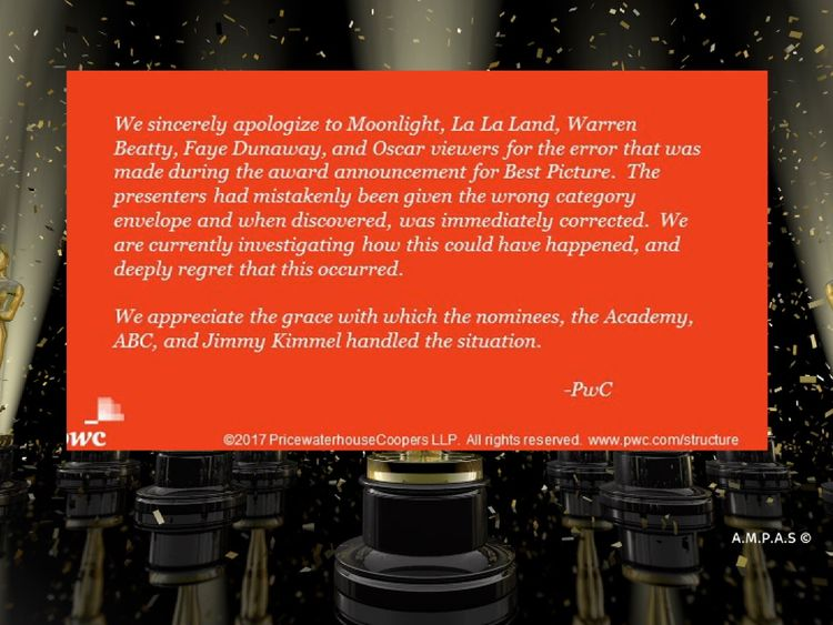 PwC tweeted an apology over the Oscars mix-up