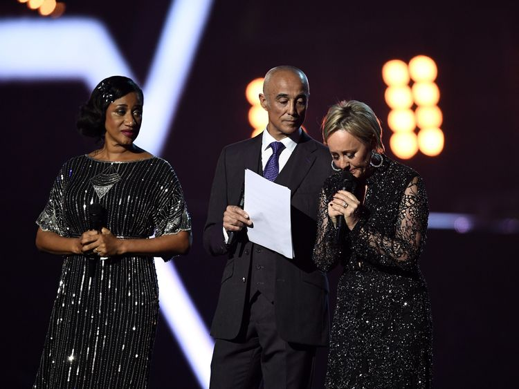 Pepsi DeMacque, Andrew Ridgeley and Shirlie Holliman of Wham! present a tribute to George Michael